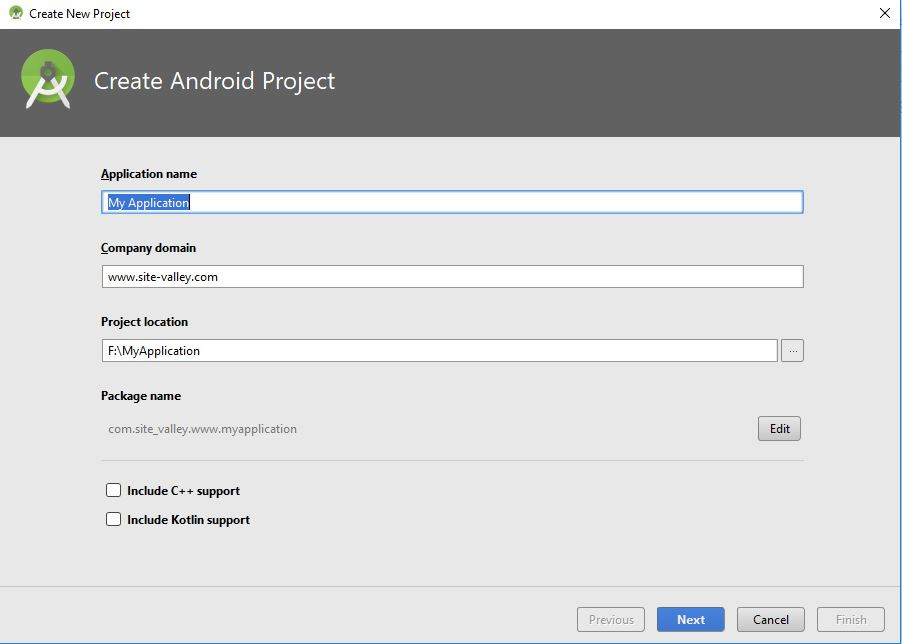 name app in android studio