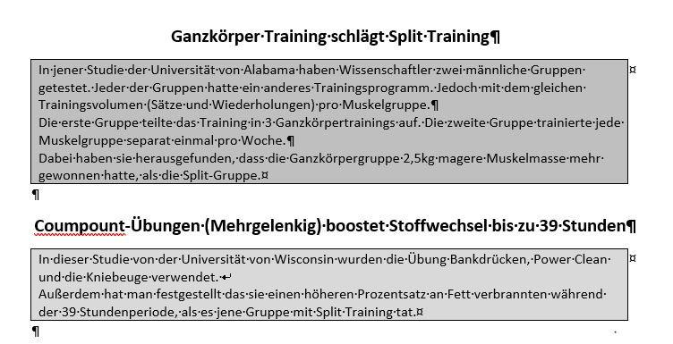 Trainingssplits