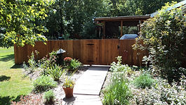 Wood privacy red cedar fence installation