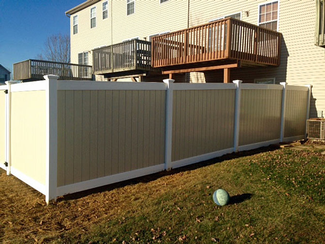 Brown vinyl privacy fence Almond Color Vinyl Vinyl Privacy Fence Fence Galleries Vinyl Fence Lehigh Valley Pa Triboro Fencing Contractors Inc