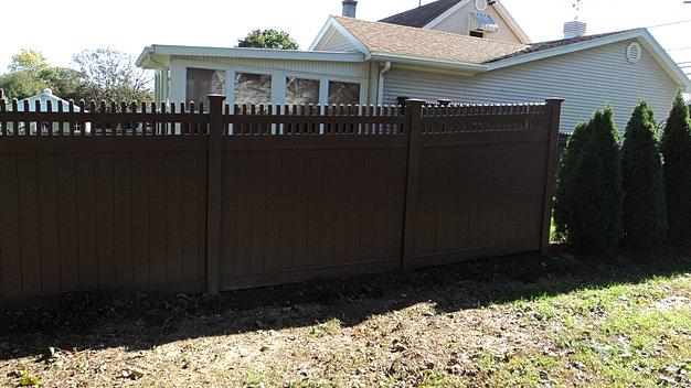 brown vinyl fence. Vinyl PVC Privacy Fence Installation Brown
