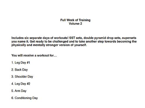 Full Week Of Training Volume #2
