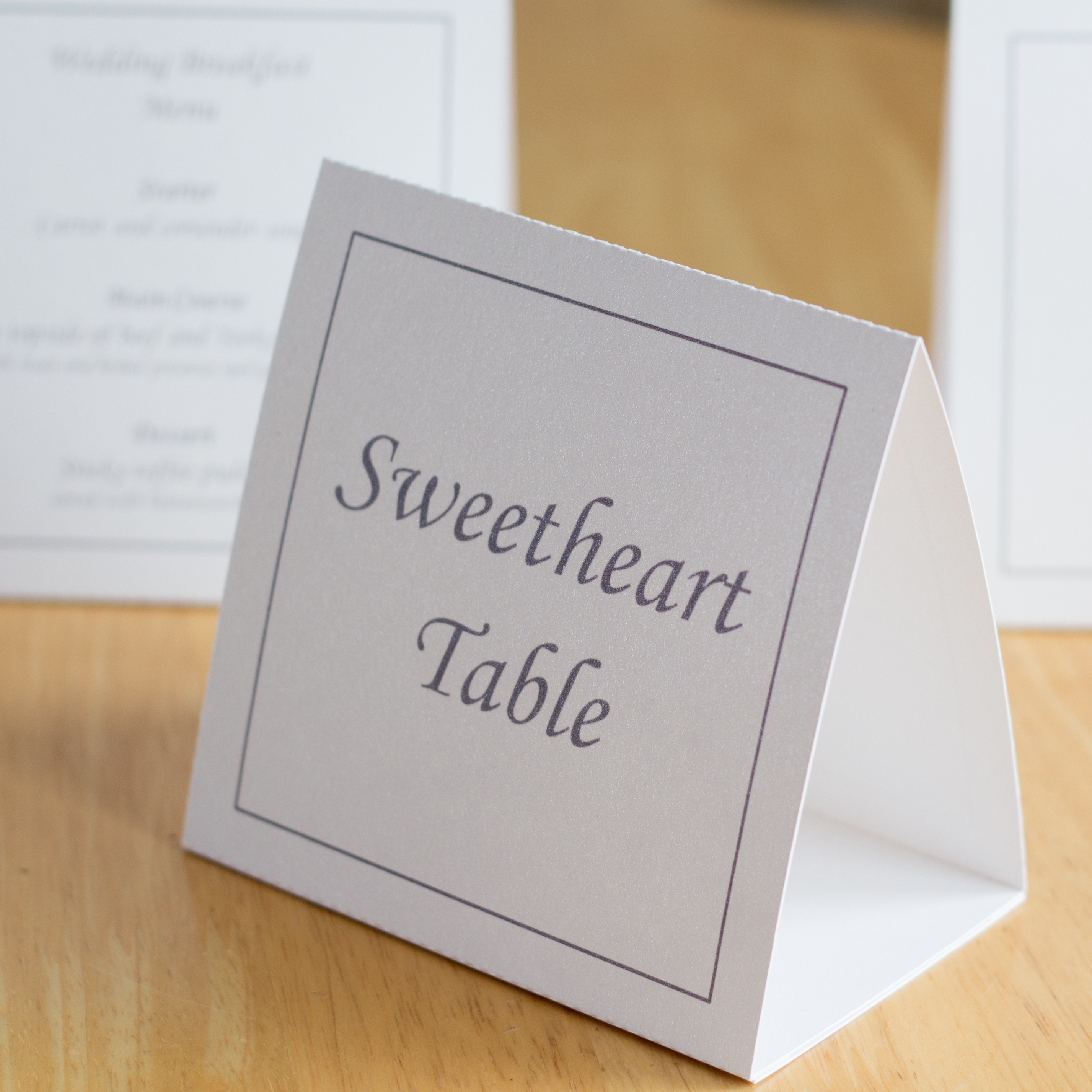 Table Number/Menu