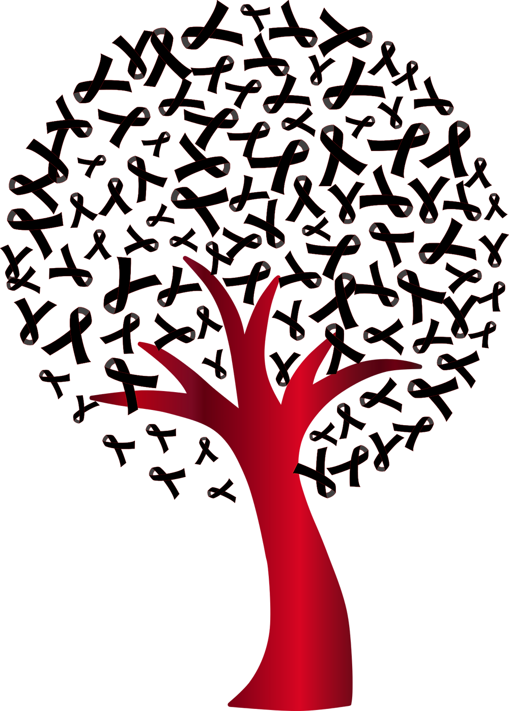 Baum mit AIDS-Schleifen