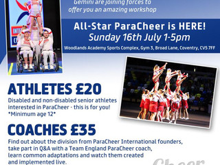 PARACHEER WORKSHOP FOR COACHES AND ATHLETES – COVENTRY, JULY 2017