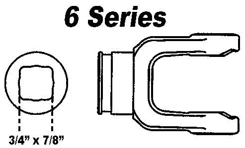 "Shaft Weld Yoke Male 6 Series Std 3/4""x 7/8"