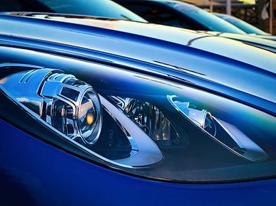 car light on blue car