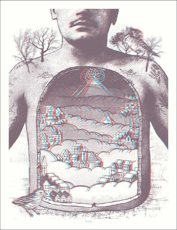 """""""St. Holden's Valley"""" Anaglyphic screen-print, 20x26"""" Edition of 30, 2009  $175 - contact to purchase"""