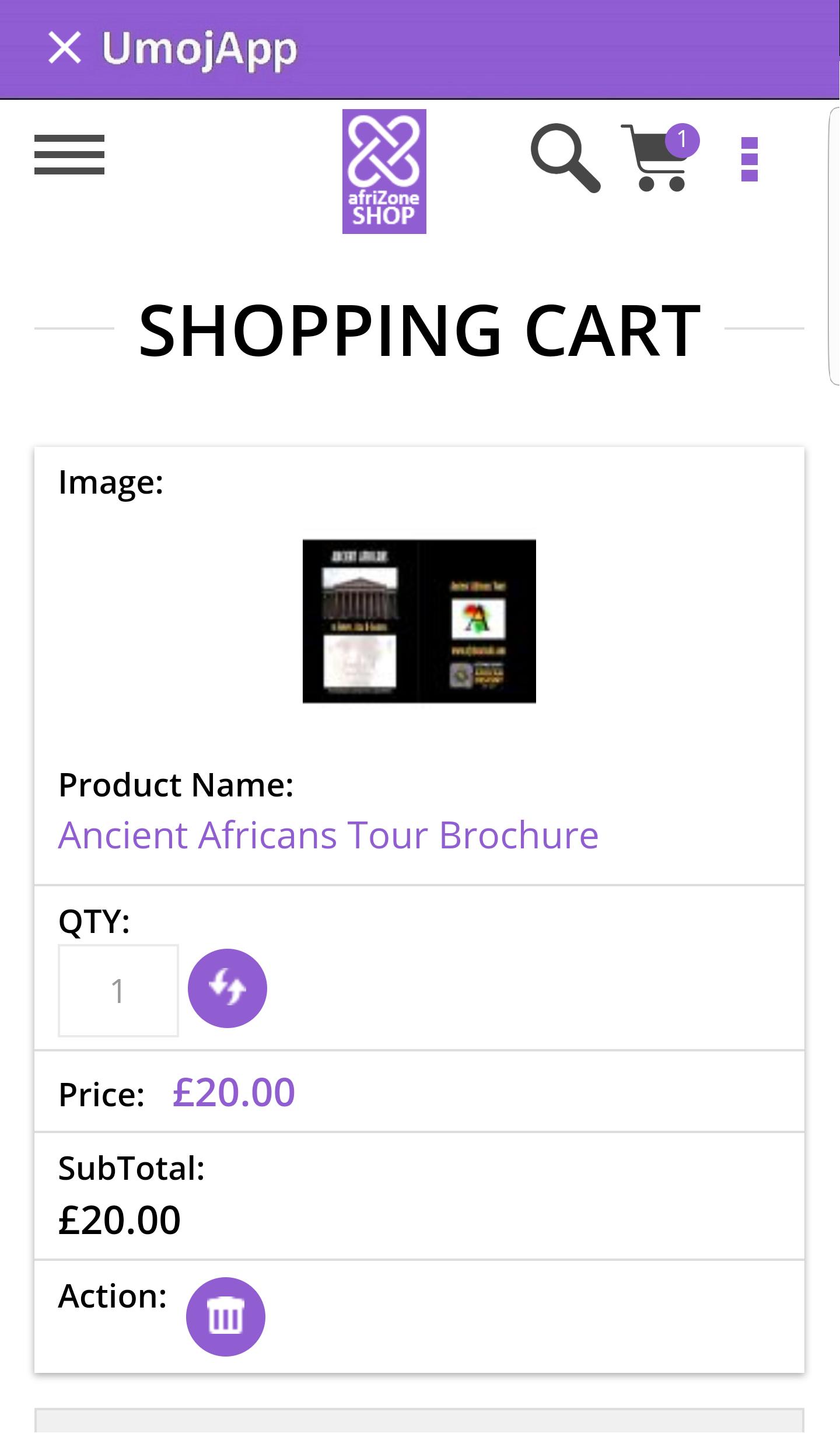 UmojApp_afriZone.SHOP_shopping cart