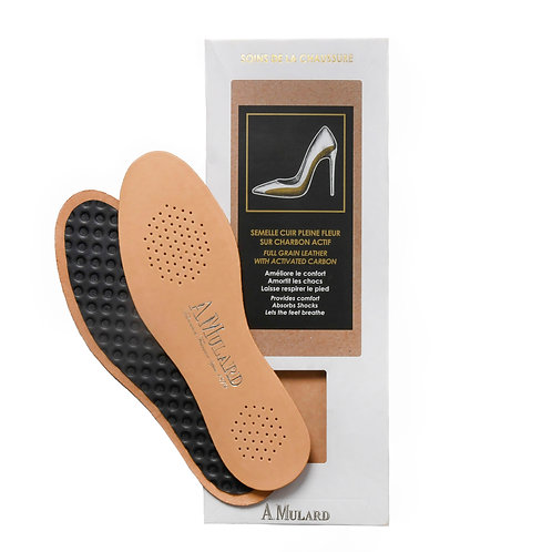 Semelle Cuir Sur Charbon Actif /  Leather Insole with Activated Charc