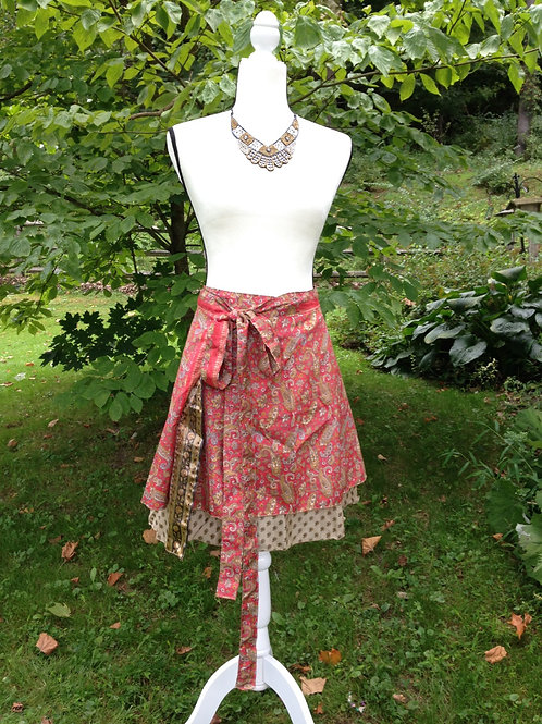 Red Paisley Sari Silk Skirt - Mini Regular