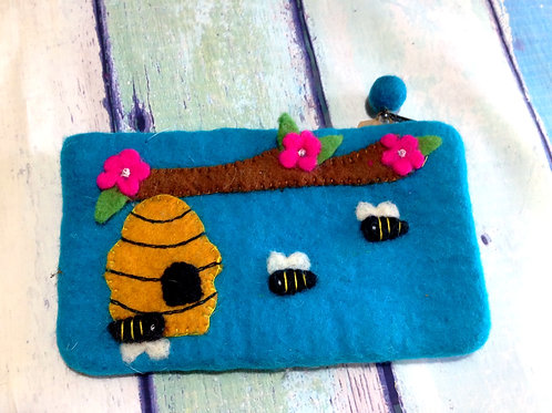 Felted Bumblebee Clutch
