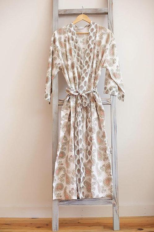 Handmade Cotton Robe - Pretty Paisley