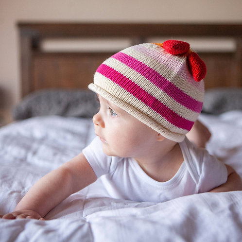 Striped Hat with Heart Tassels