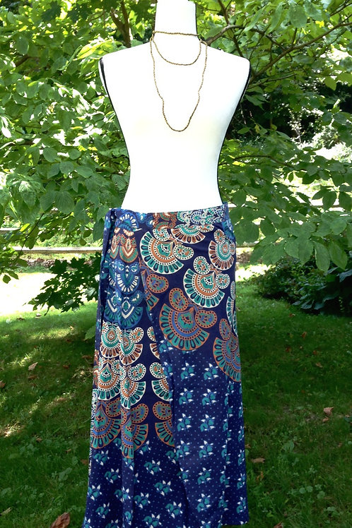 Indigo Peacock Maxi Skirt - 100% Cotton - XL