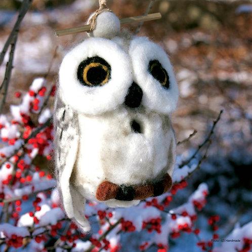 Snowy Owl Felted Birdhouse