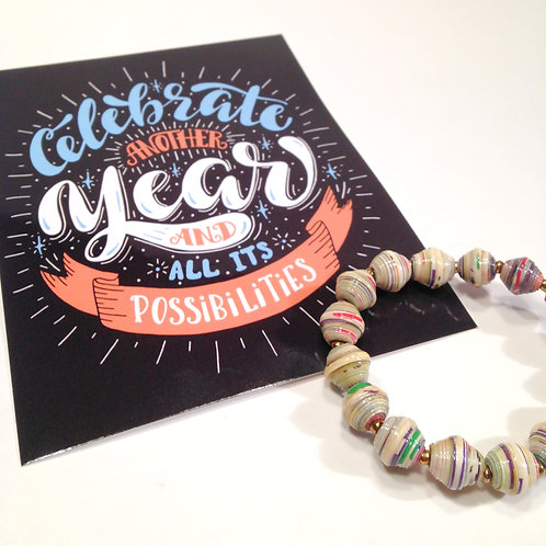 Celebrate Another Year Card & Paper Bead Bracelet Gift Set