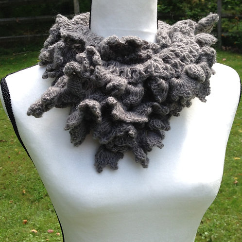 Ruffled Crochet Scarf - Graphite