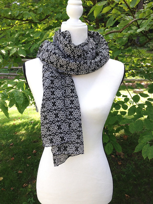 Black & White Cotton Scarf