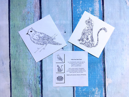 Color Your Own Card - Cat OR Bird