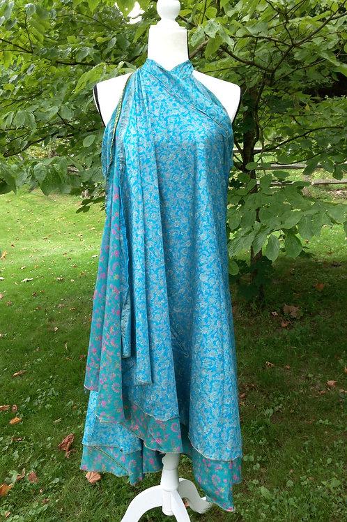 Sapphire Sari Silk Skirt - Ankle Regular