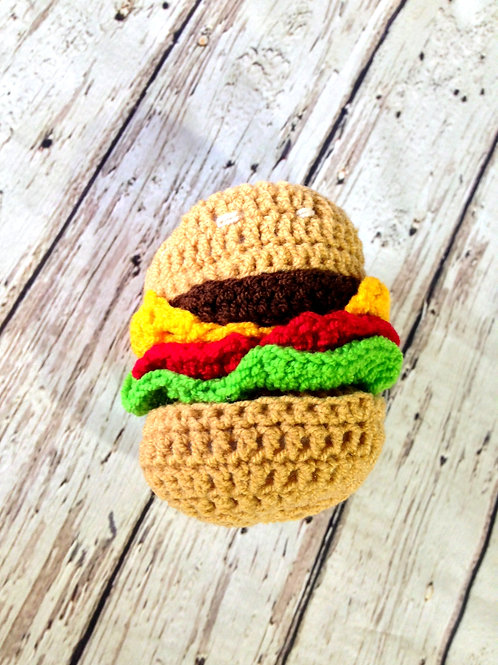 Crocheted Hamburger Rattle
