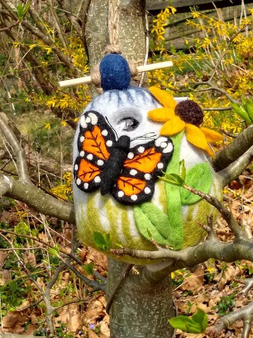 Monarch Felted Birdhouse