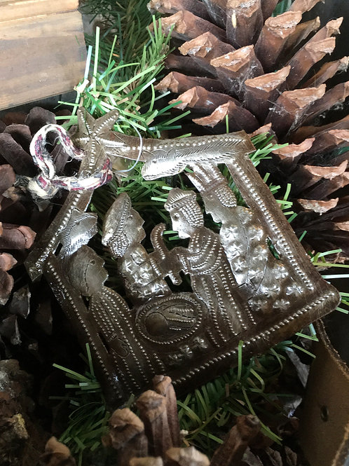 Recycled Steel Drum Nativity Ornament