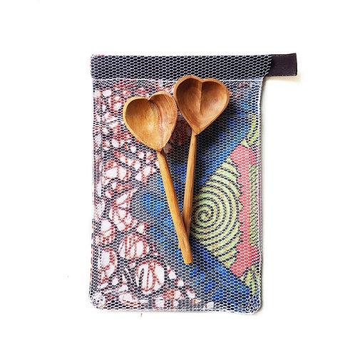 Heart-Shaped Olive Wood Teaspoon Set
