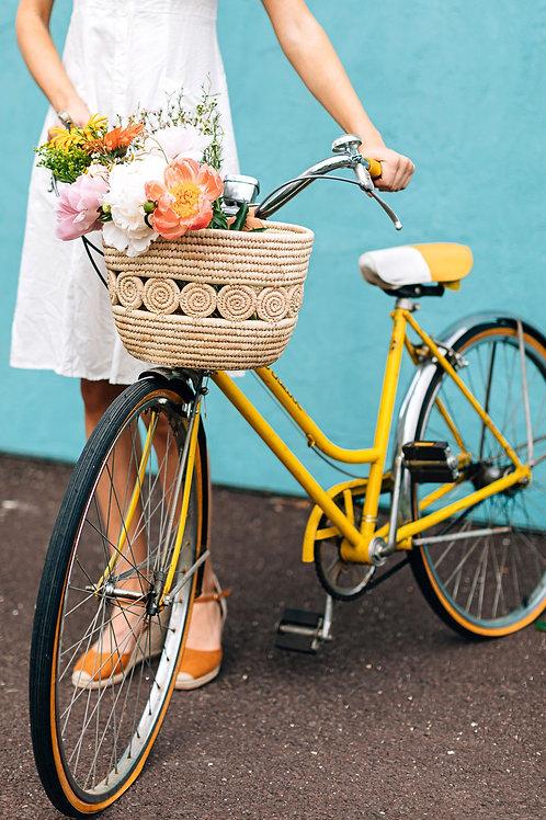 Palm Leaf Medallion Bike Basket