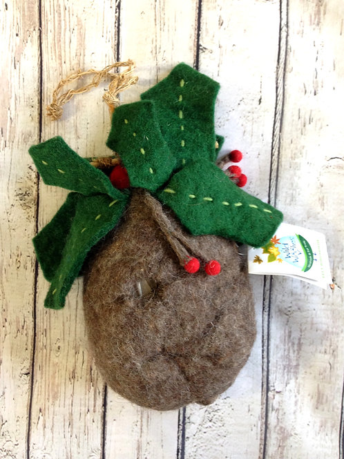Holly Leaves Felted Birdhouse