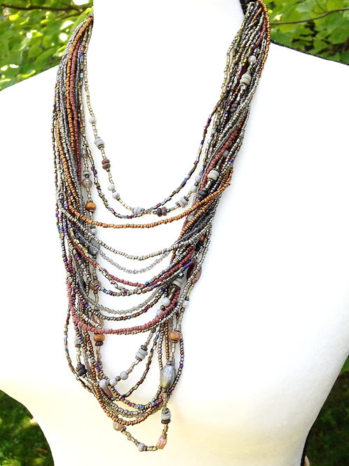 Glass, Iron, Stone Necklace - Mixed Metals