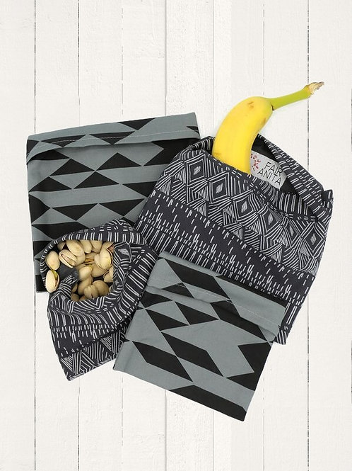 Reusable Organic Cotton Snack Bags - Charcoal Triangles