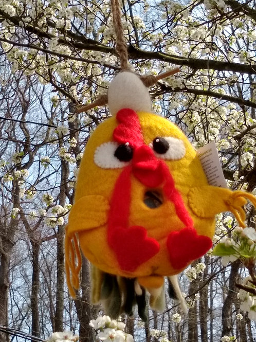 Funny Chicken Felted Birdhouse