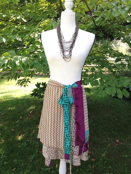 Tan Chevron Sari Silk Skirt - Mini Regular