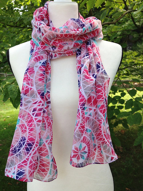 Pink Circles Polyester Scarf