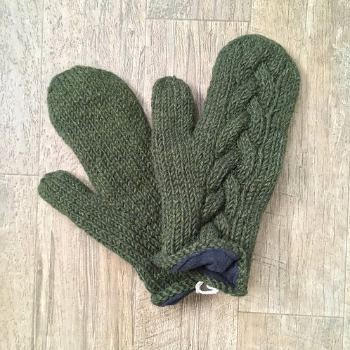 Cable Knit Wool Mittens - Forest Green