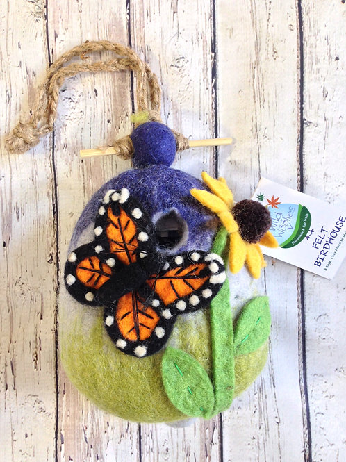 Monarch Felted Birdhouse