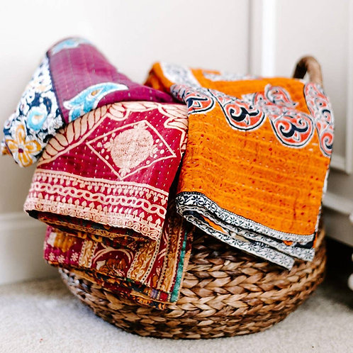 Kantha Queen-Size Blanket or Tablecloth
