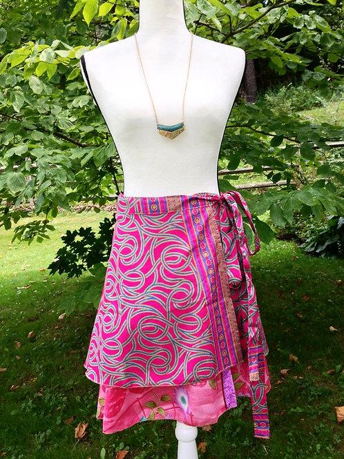 Magenta Swirls Sari Silk Skirt - Mini XL