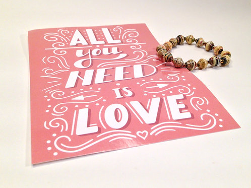 All You Need is Love Card & Paper Bead Bracelet Gift Set