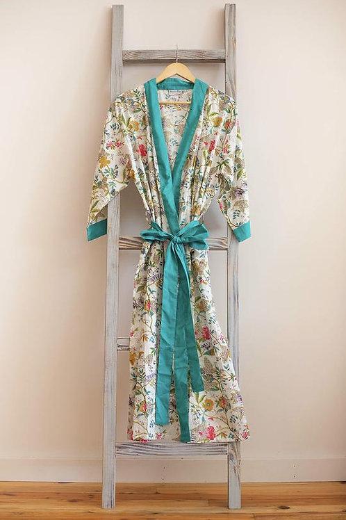 Handmade Cotton Robe - Sugar Linen Petals