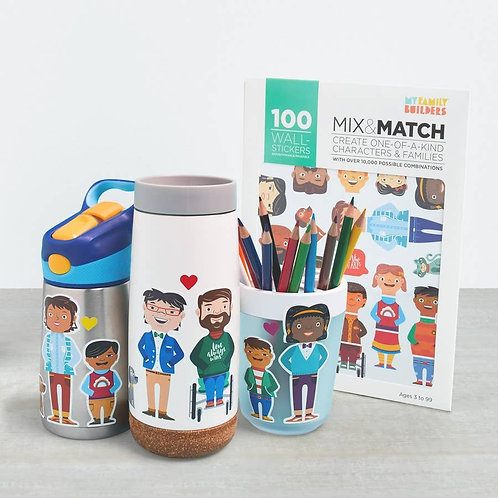 100 Removable Diversity Stickers - My Family Builders
