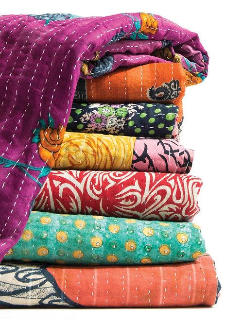 Vintage Kantha Quilt Blanket