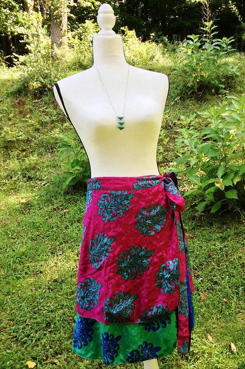 Jewel Tone Sari Silk Skirt - Mini XL