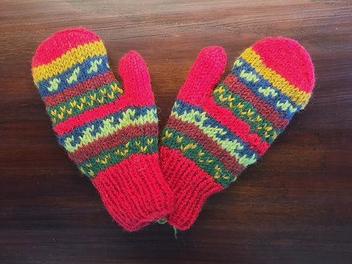 Hand-Knit Wool Mittens - Crimson