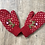 Thumbnail: Floral Embroidered Mittens - Ruby
