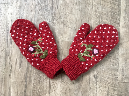 Floral Embroidered Mittens - Ruby
