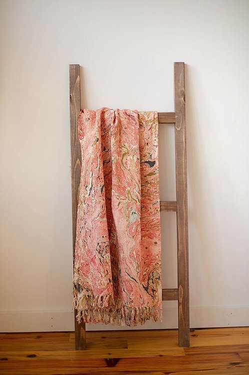 Rose Marbled Cotton Throw