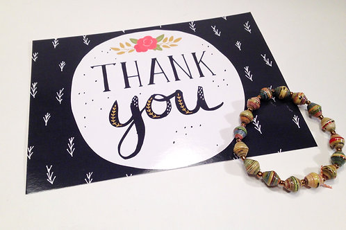 Thank You Card & Paper Bead Bracelet Gift Set